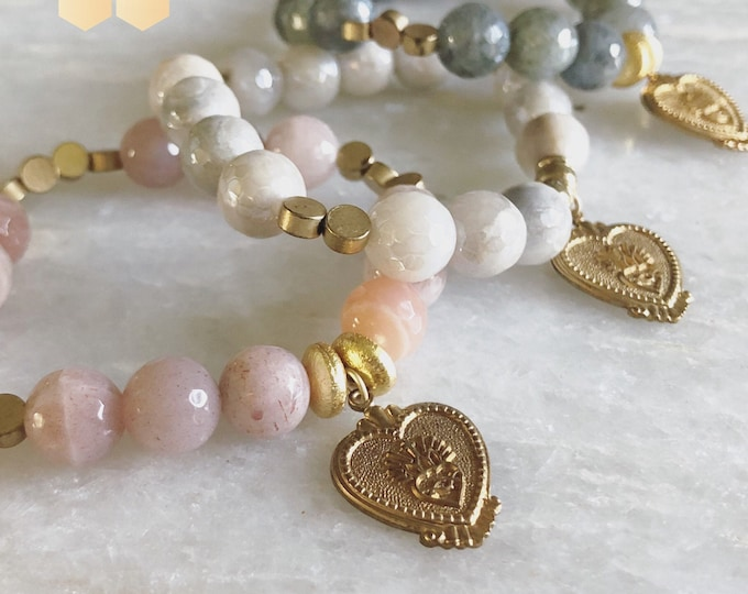 Featured listing image: Vintage Sacred Heart medals on faceted agate stones