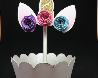 Unicorn cupcake topper and holder