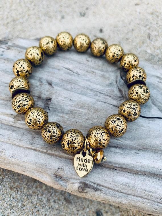 Handmade Gold  Charm Natural Stone Gold Charm Bracelet Natural Stone Gold Plated Blue Charm Bracelet Blue Jewelry Bracelet Bracelets