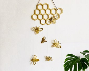 Bee Honeycomb Wall Hanging, Bee Mobile, Bee Wall Art, Bee Home Decor