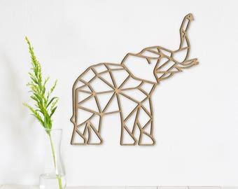Geometric Elephant Wall Art Wooden Animal Decor Rustic Home Farmhouse