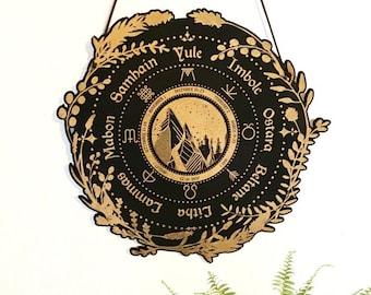 Wheel of the Year, Wooden Mountain Scape, Pagan Calendar, Calendar Board, Magical Calendar