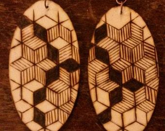Cubism Wood Burned Oval Earrings