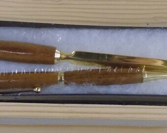 Hand made pen and letter opener. Made from African exotic wood - matched set