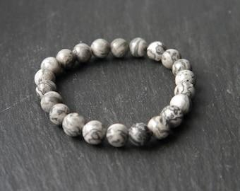 Handmade All Natural Frosted Zebra Net Stone | Stretch Cord Bracelet