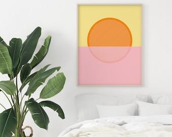 Sun Print, Geometric Decor, Minimalist Art, Pink and Orange Decor - Sunrise