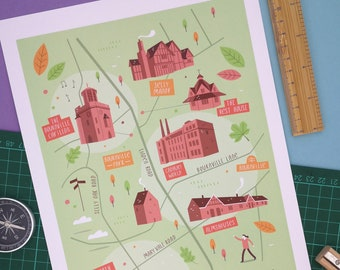 Bournville map, Bournville illustrated map, Birmingham art, City map poster, Birmingham graphic poster, Birmingham illustration