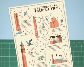 Birmingham Tolkien Trail Illustrated map, Tolkien, Lord of the Rings, The Hobbit, Fantasy Map