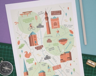 Selly Oak and University of Birmingham illustrated map print