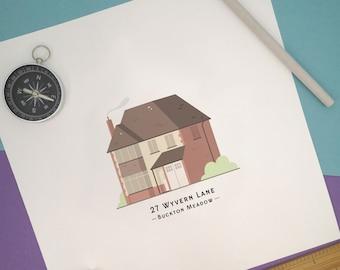 Personalised House Portrait - Unique Building Illustration