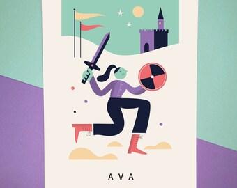 Personalised Name Character Print - Adventurer - Birthday gift - Nursery gift - Custom Wall Art - Kids, Childrens Room - Home Prints