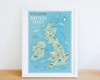 British Isles Map, Myths and Legends of the British Isles Illustrated Map, Great Britain Map, UK Illustrated Map, British Map, Fantasy Map