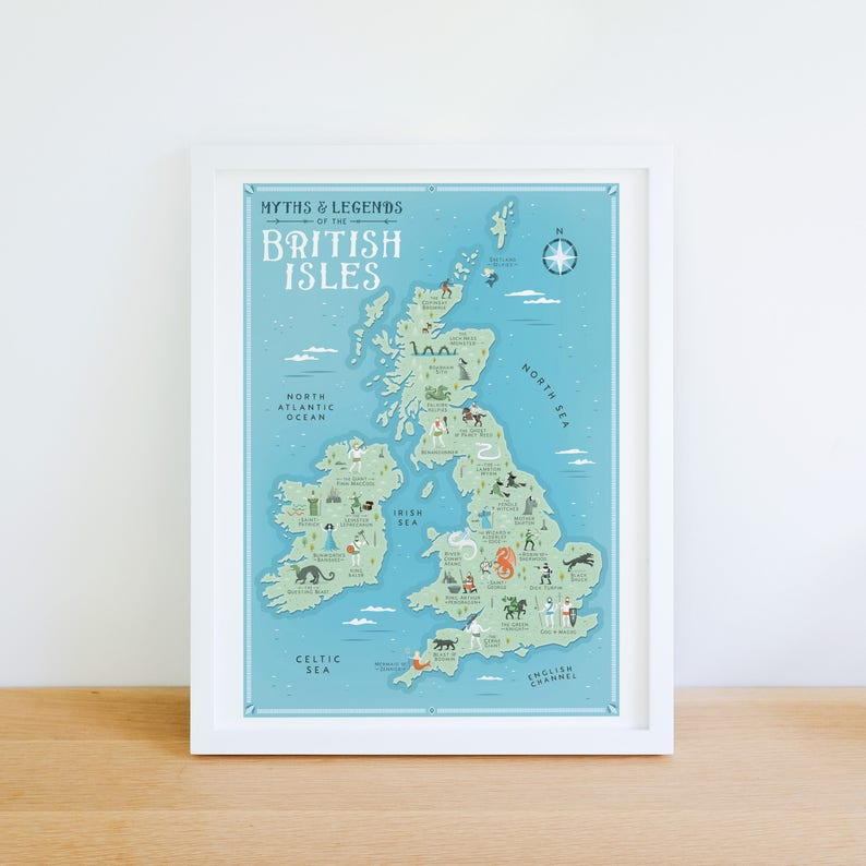 Uk Map Of Britain.British Isles Map Myths And Legends Of The British Isles Etsy