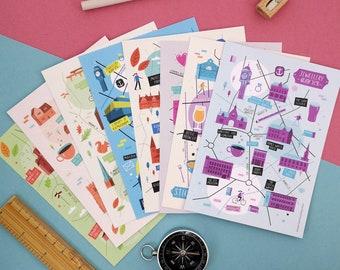 Pack of 8 Birmingham illustrated map postcards