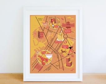 Brooklyn map, Brooklyn illustrated map, Brooklyn art, Brooklyn map poster, Brooklyn graphic poster, Brooklyn illustration, Brooklyn print