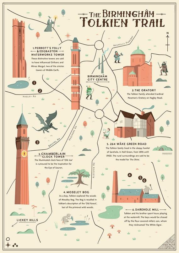 Birmingham Tolkien Trail Mapa ilustrado Tolkien El Señor de | Etsy