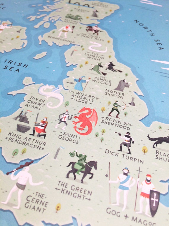 British Isles Map Myths and Legends of the British Isles | Etsy
