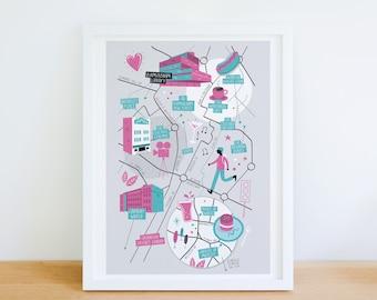 Birmingham map, Birmingham illustrated map, Birmingham art, City map poster, Birmingham graphic poster, Birmingham illustration