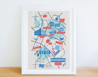 Manchester map, Manchester illustrated map, Manchester art, City map poster, Manchester graphic poster, Manchester illustration