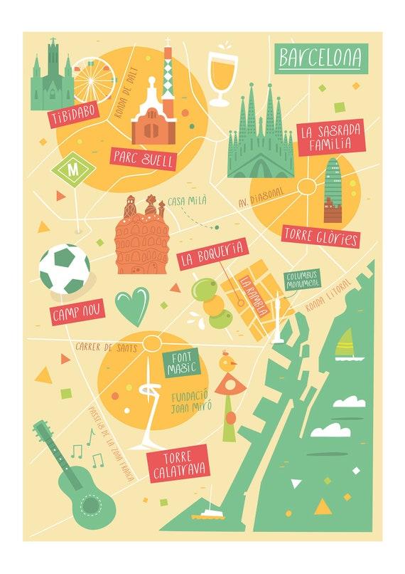 Barcelona Map Barcelona Illustrated Map Barcelona Art City Etsy