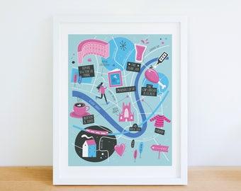 Bath map, Bath illustrated map, Bath art, Bath city map poster, Bath graphic poster, Bath illustration, illustrated map of Bath, Somerset