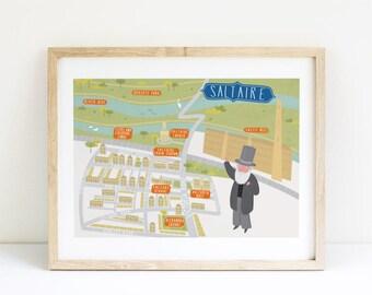 Saltaire Map, Saltaire illustrated map, Saltaire art, Saltaire map poster, Saltaire graphic poster, Saltaire illustration, Yorkshire art