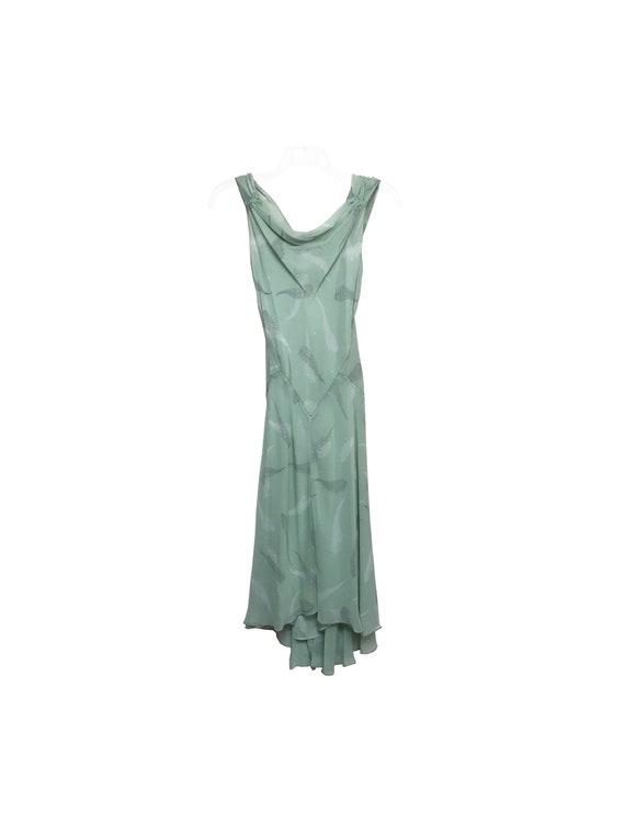 Cowl Neck Bias Cut Silk Sleeveless Dress