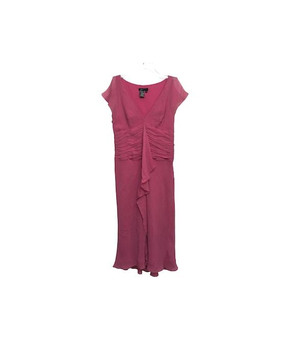 90s Silk Dress Pseudo Cap Sleeve