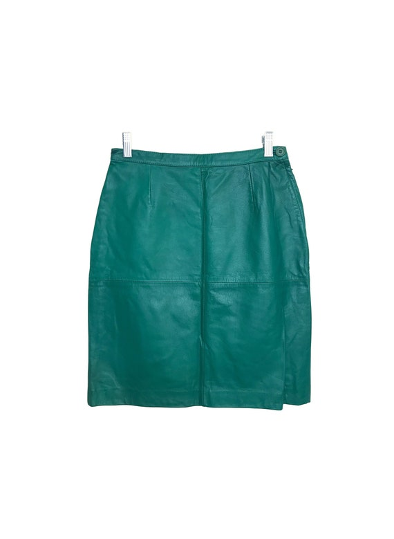80s Green Leather Skirt