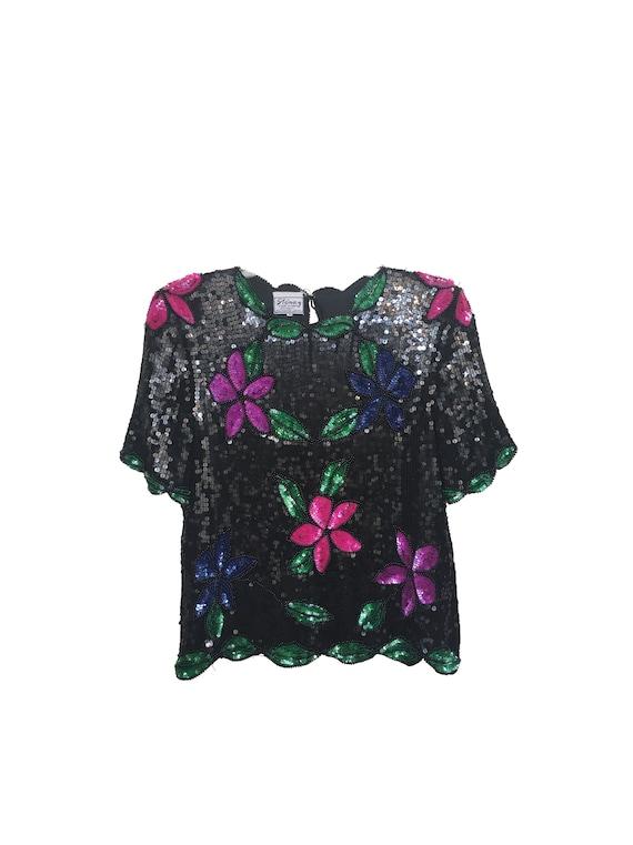 Stenay Floral Sequin Top 80s