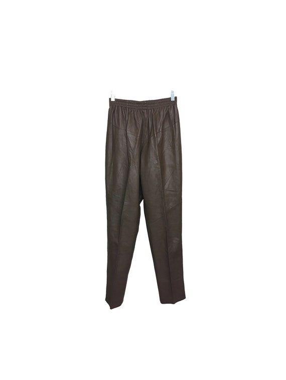 80s Leather Pants Elastic Waist Band