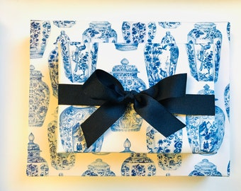 """Wrapping Paper • Ginger Jars Blue & White  • 2 Sheets •20"""" x 29"""""""
