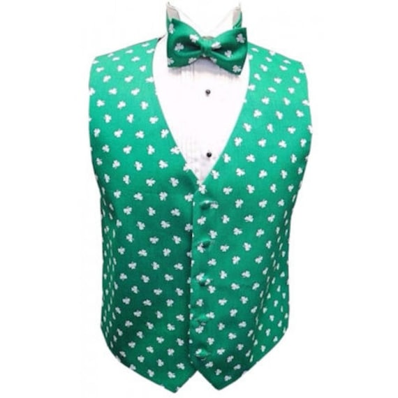 Saint Patrick/'s Shamrocks Tuxedo Vest and Bow Tie