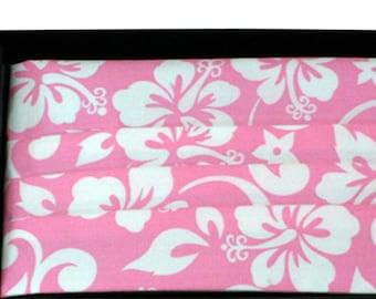 Hawaiian Pink and White Floral Tuxedo Cummerbund and Bow Tie Set