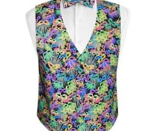 Mardi Gras Carnival Tuxedo Vest and Bow Tie