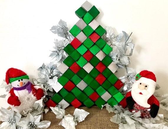 Christmas Joy Christmas Tree Tree Wood Mosaic Wall Art Etsy