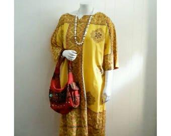 Vintage 80's Moroccan Caftan Tribal Hippie Dress Free Size Tunic Boho Style Cotton Causal Dress