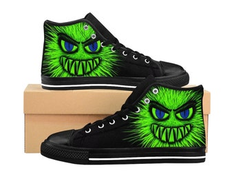 innovative design 9975f 63247 MenS HighTop Sneakers Green Monster Sneakers Custom Made Men Basketball  Sneakers Monster High Tops