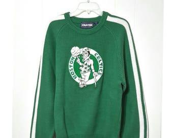 3de599a7ae38a Vintage 80s BOSTON CELTICS NBA Starter Lucky-Charm Leprechaun Deadstock  Streetwear Basketball Sweater Size Large