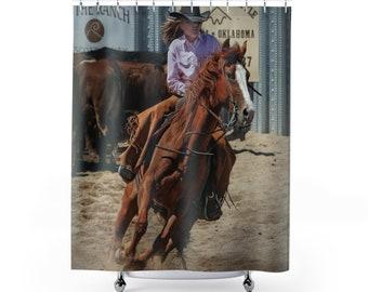 Cowgirl Shower Curtains Barrel Rider Bath Curtain Western Rodeo Custom