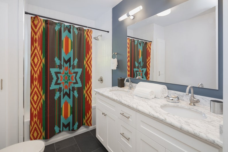 Awe Inspiring Southwest Decor Native American Bathroom Decor Shower Curtains Tribal Custom Made Shower Curtain Download Free Architecture Designs Remcamadebymaigaardcom