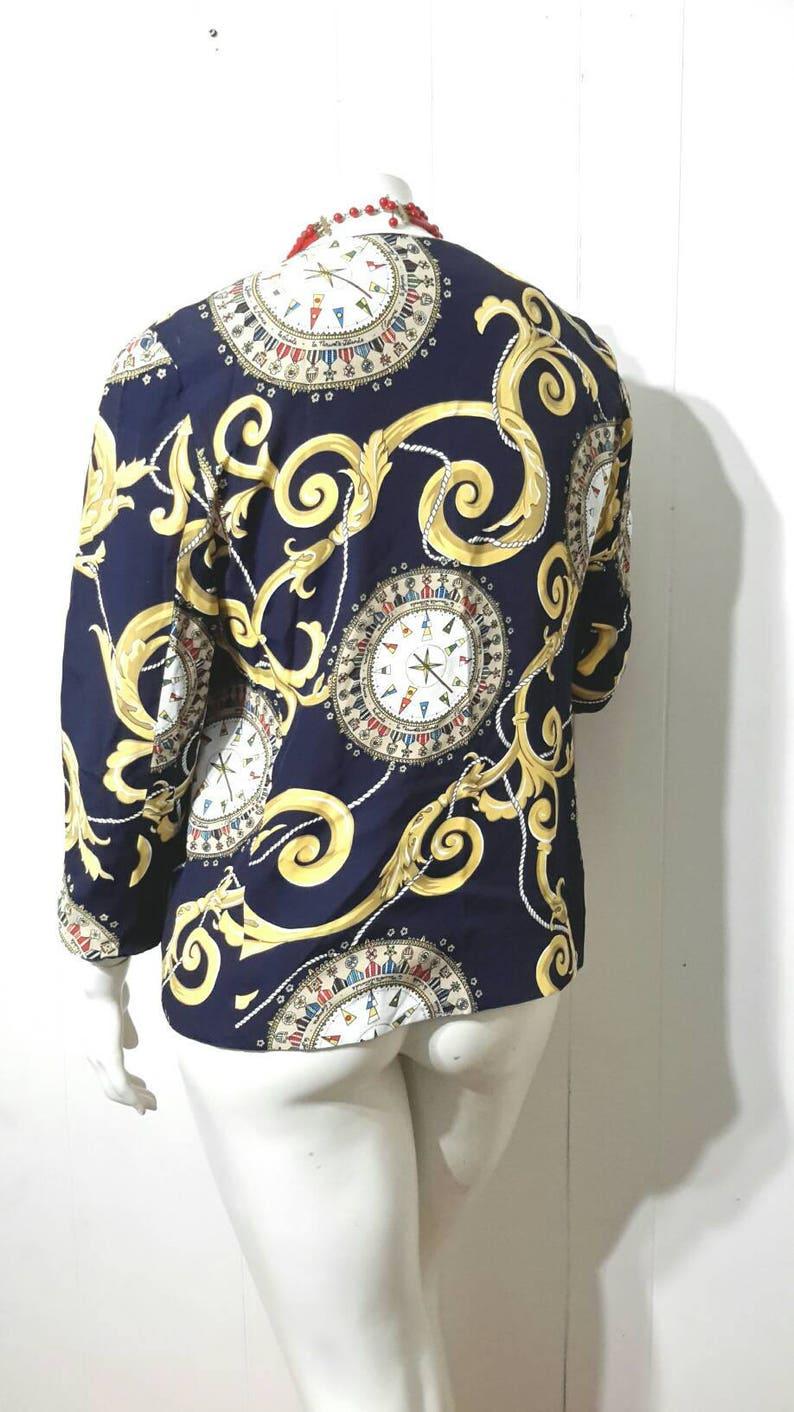Vintage Nautical Blazer Sailor Compass Print Jacket 1980s Navy /& Gold NOS Made in USA