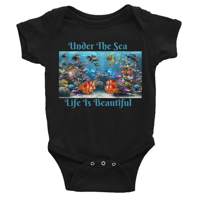 Ocean Life Baby Bodysuit Sea Life baby Onesie Custom Baby Underwater Coral Life Infant Bodysuit