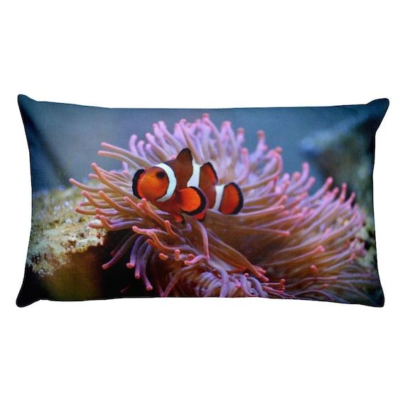 Anemone Throw Pillow Underwater Fish Pillow Ocean Life Sea Etsy