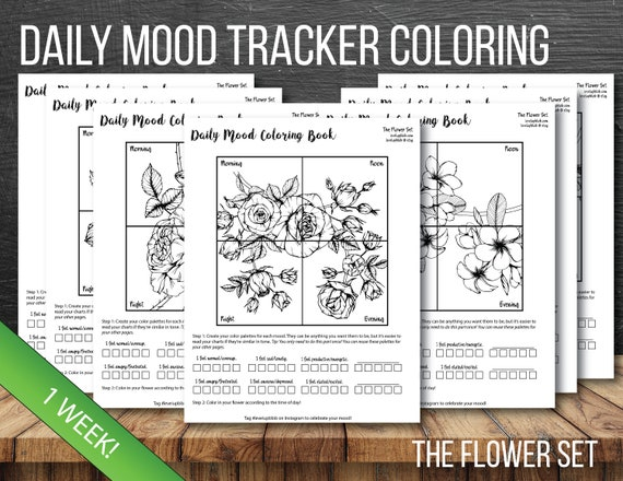 Mood Tracker Daily Bullet Journal Coloring Pages - Flowers - 7 Days (1 Week) of Coloring Pages