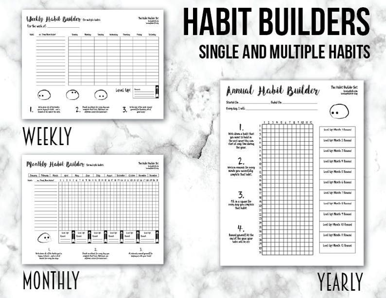 photo relating to Bullet Journal Pages Printable named Pattern Builder Tracker Bullet Magazine Web pages Printable Planner Sheet Package deal Weekly, Regular, and On a yearly basis