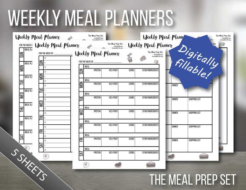 picture relating to Bullet Journal Pages Printable identified as Weekly Supper Planner Bullet Magazine Webpages Printable and Fillable Evening meal Prep