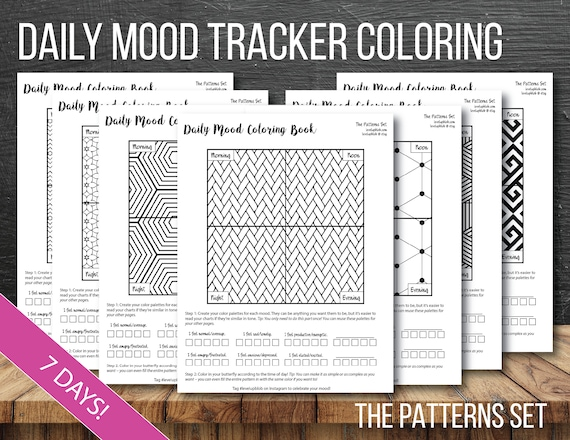 Mood Tracker Daily Bullet Journal Coloring Pages - Patterns - 7 Days (1 Week) of Coloring Pages