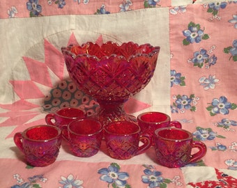 Vintage Red Carnival Glass Mini Punch Bowl Set