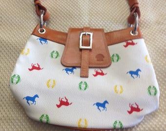 Custom Made Guarnicioneria Lopez Leather Purse Equine Horse Print
